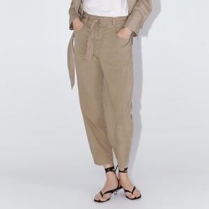 NWT ZARA Trousers With Buckle Belt S